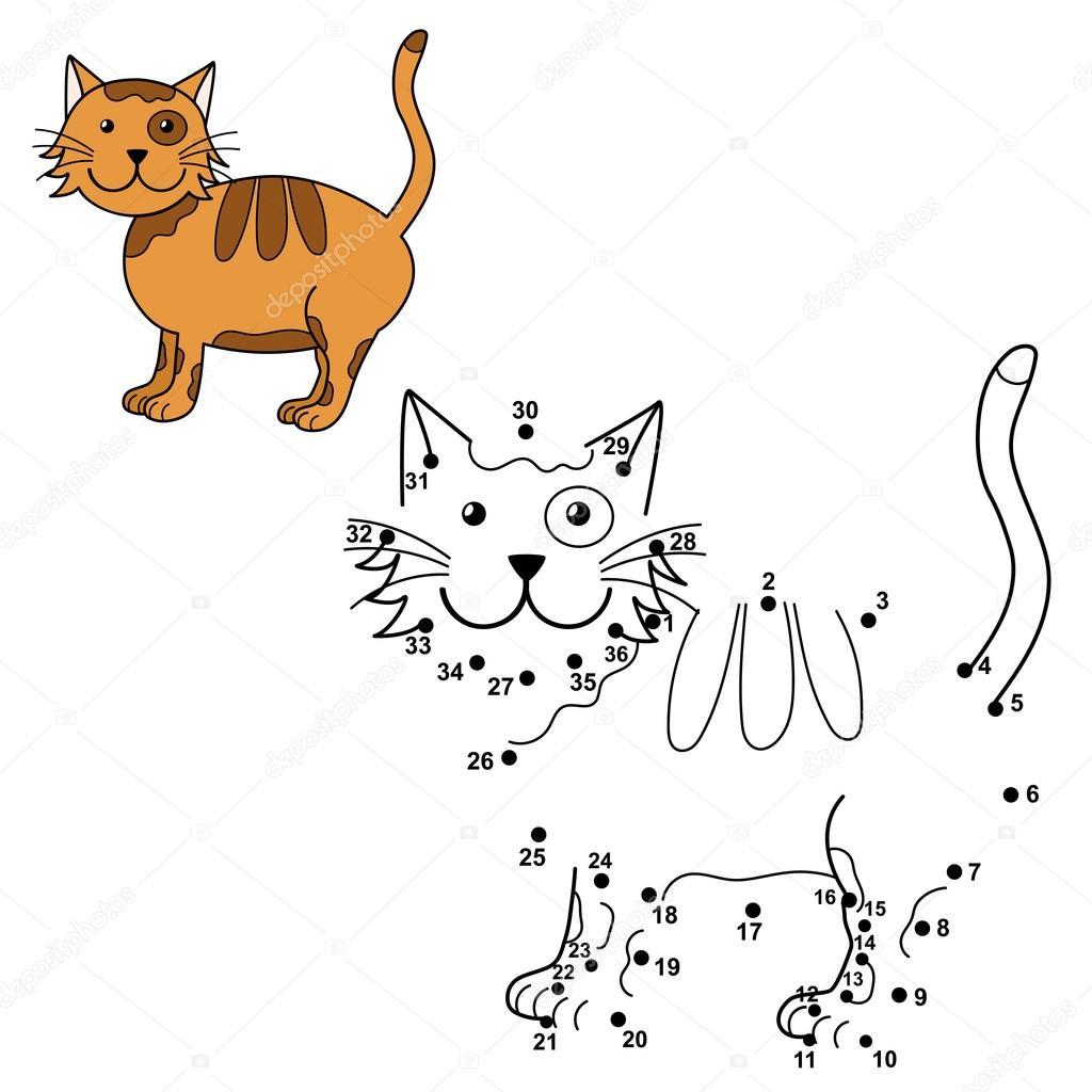 Conectar los puntos para dibujar el gato lindo y el color que ...