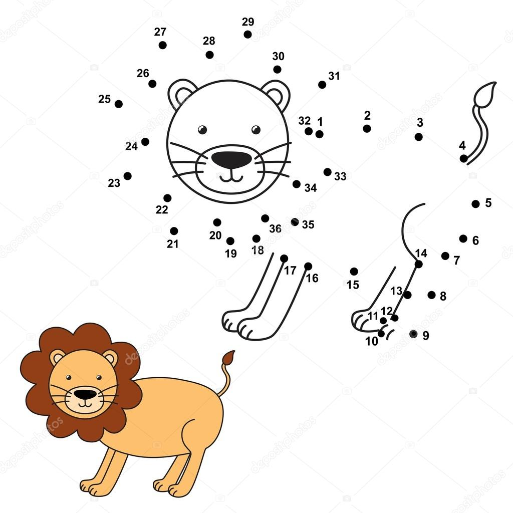 Connect the dots to draw the cute lion and color it. Educational ...