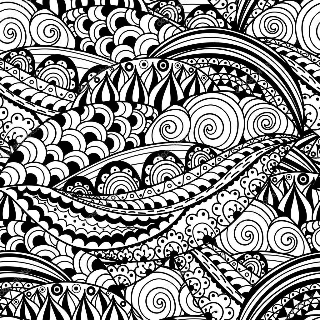 modello senza cuciture bianco e nero disegnato a mano con onde