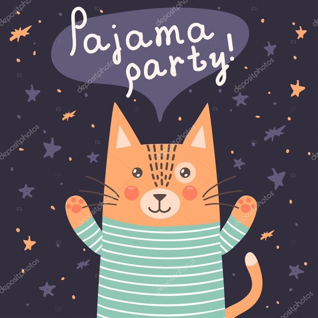 design popolare cerca autentico imballaggio forte Scheda del partito di pigiama con un simpatico gatto ...