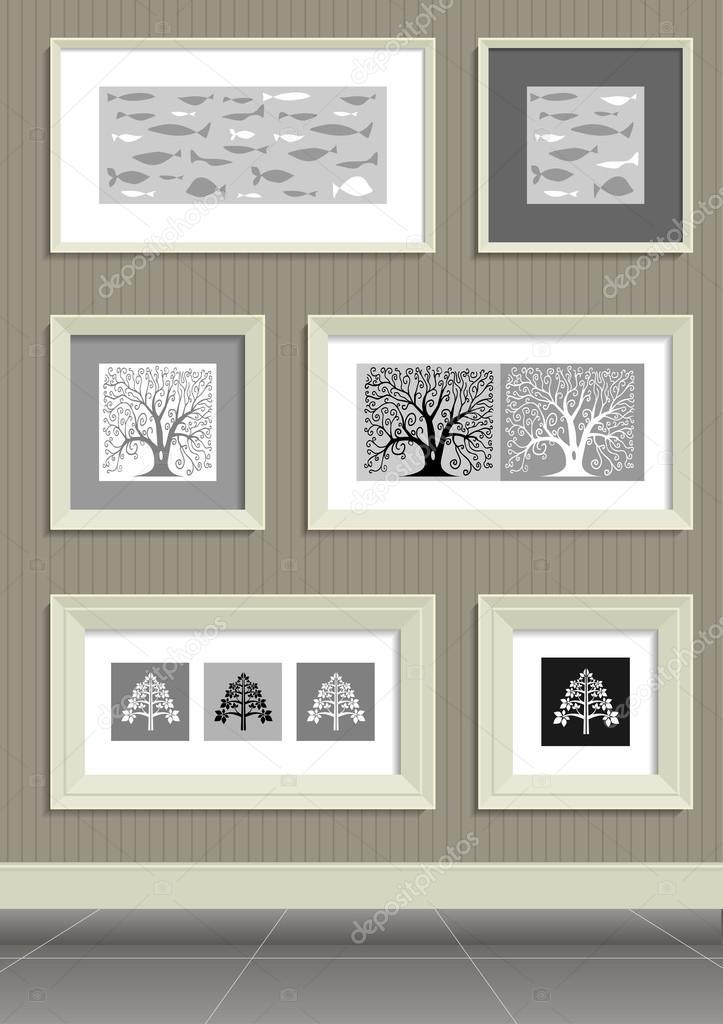 Cuadros en marco beige — Archivo Imágenes Vectoriales © denisik11 ...