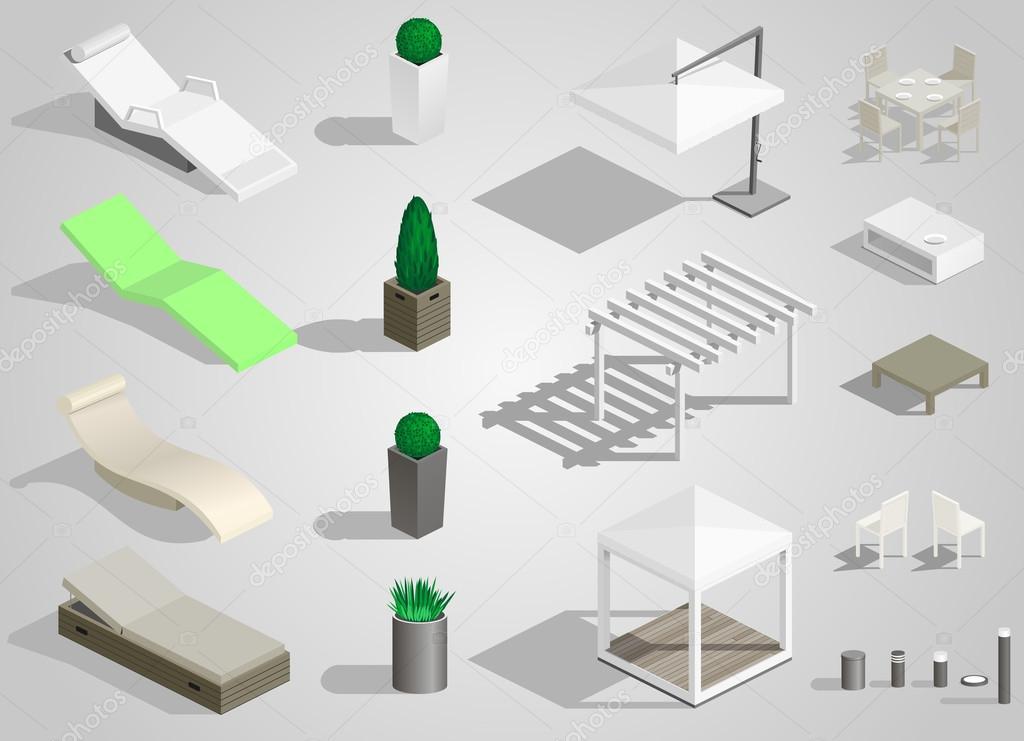 Vector Mobiliario Urbano Conjunto De Mobiliario Urbano