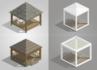 Set of four pavilions