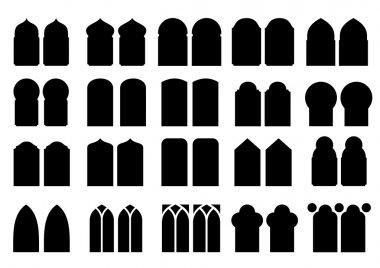 Set of silhouettes windows