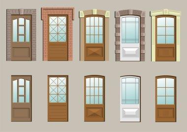 Wooden doors in the wall