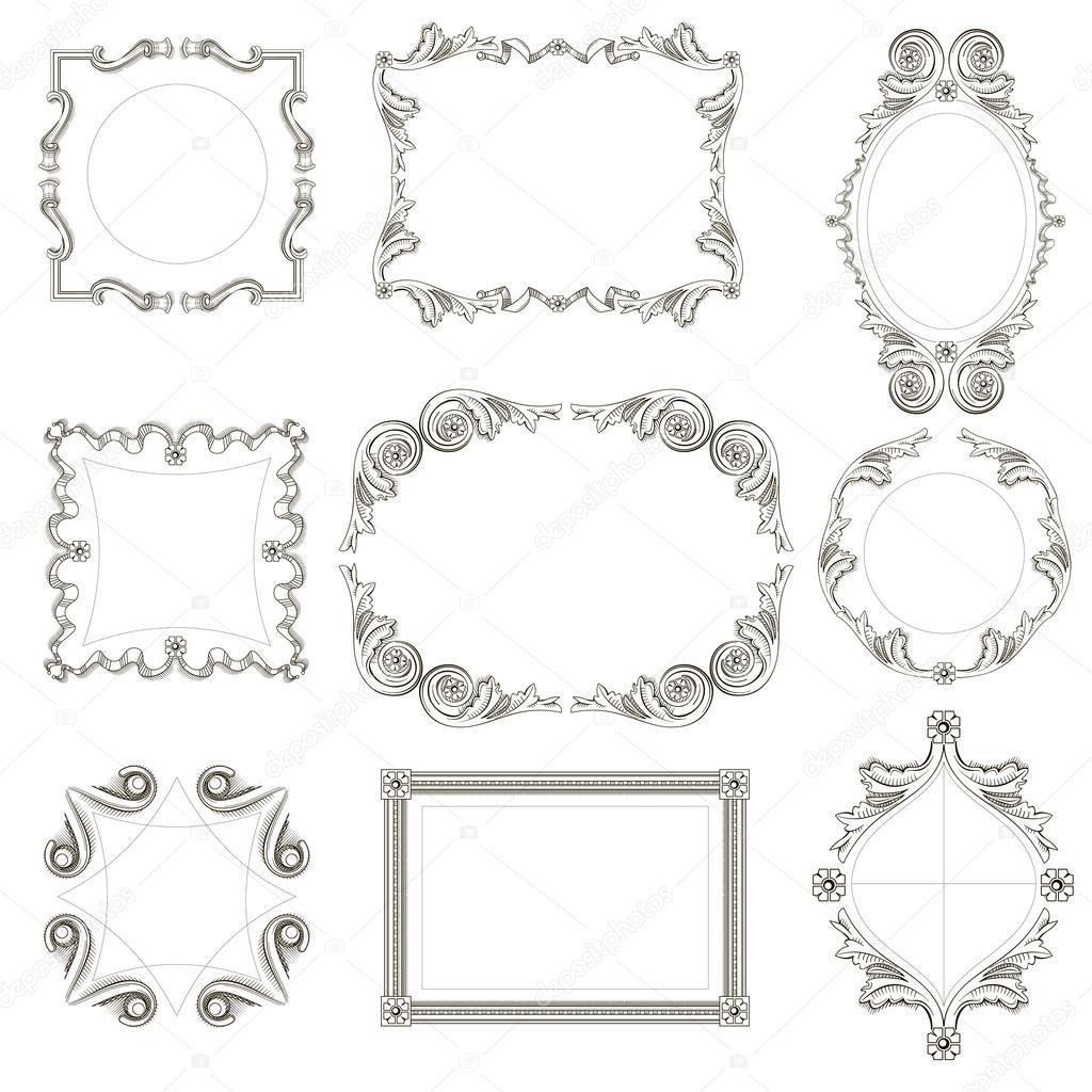 conjunto de marcos clásicos — Vector de stock © denisik11 #92691630