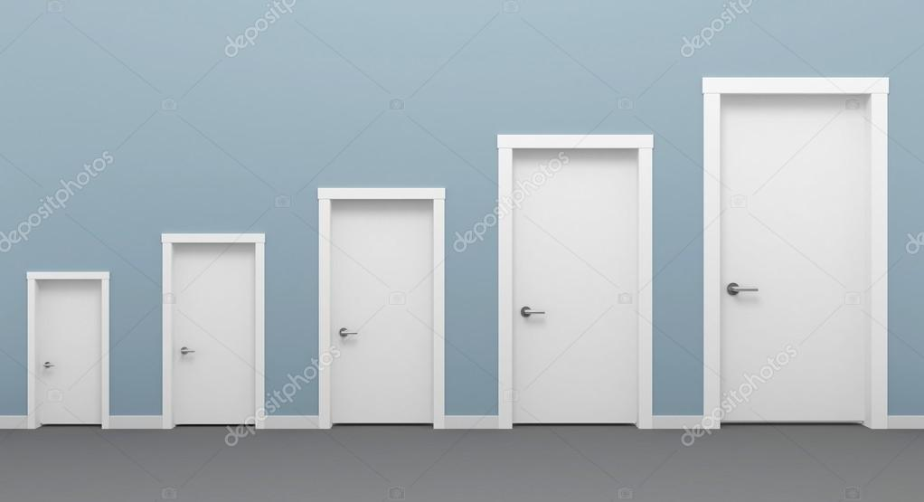 3d illustration of different five doors white. u2014 Photo by denisik11 & Five doors white. u2014 Stock Photo © denisik11 #96723656