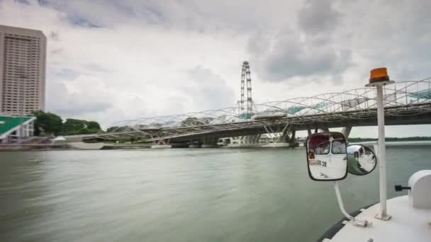 Tourist boat trip by marina bay