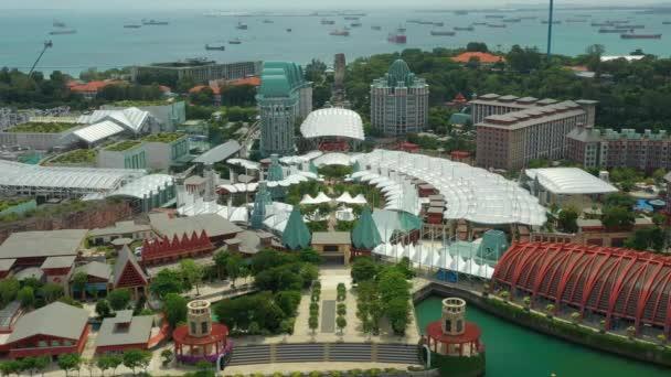 Aerial panorama of architecture at Sentosa island, Singapore city