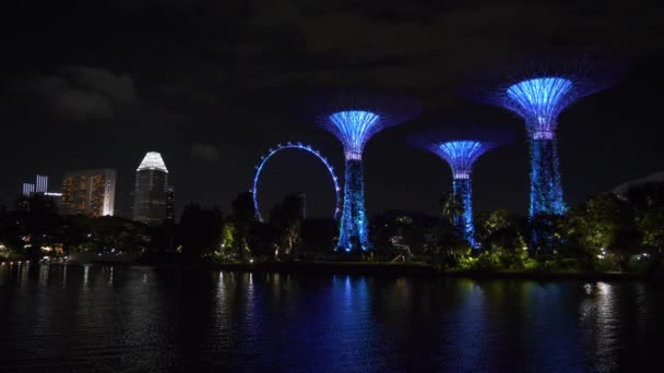 Night illumination of magic trees at famous garden in Singapore city, panorama, 4k