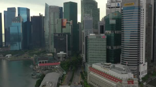 Aerial panorama over Singapore streets at daytime, 4k