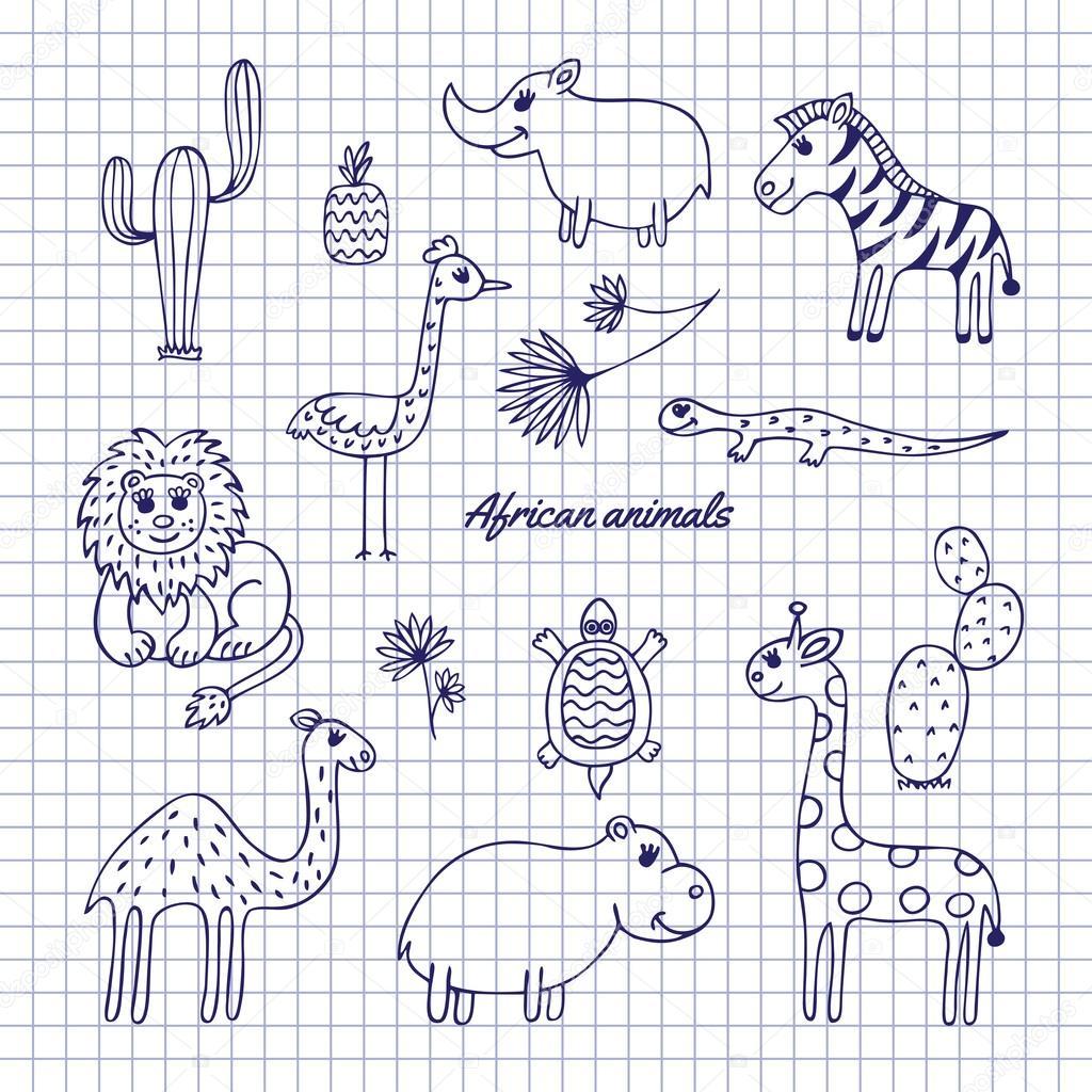 Zeichnen Sie Hand Afrikanische Tiere Stockvektor Evgeniavv