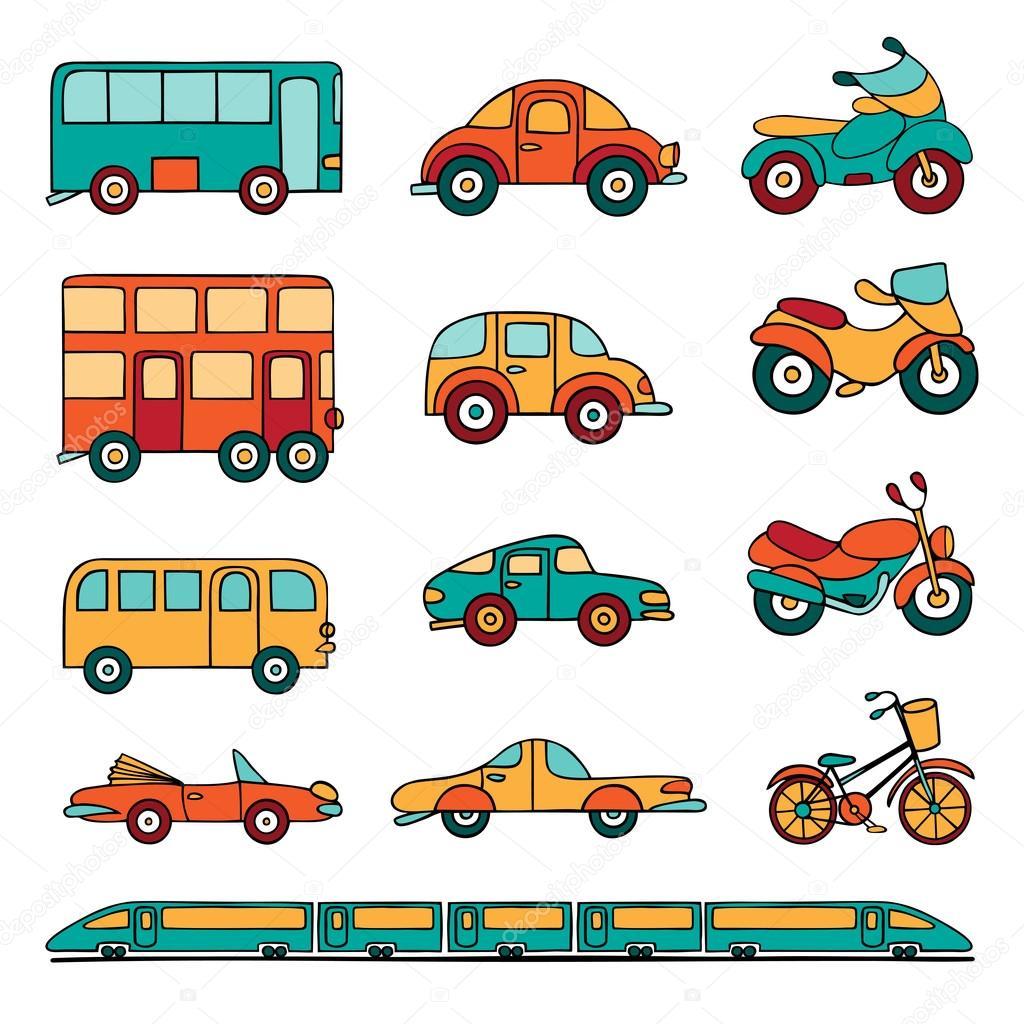 Vector Conjunto De Transporte Terrestre De Dibujos Animados
