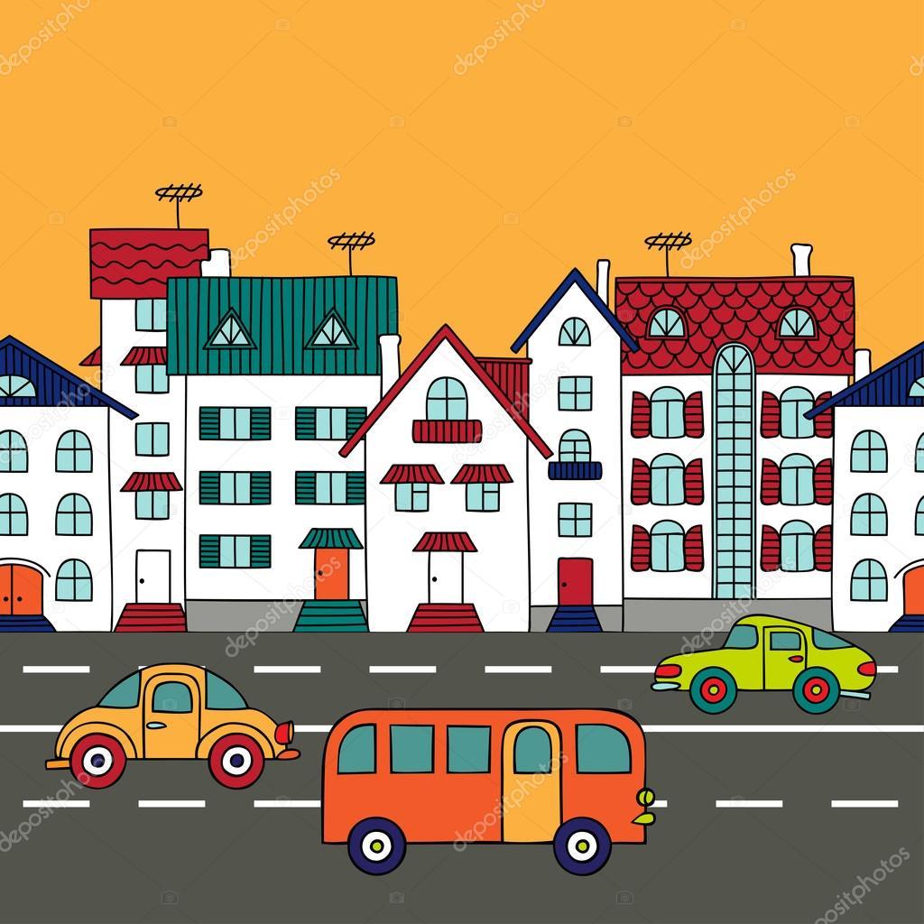 Paisaje urbano con el transporte por carretera — Vector de