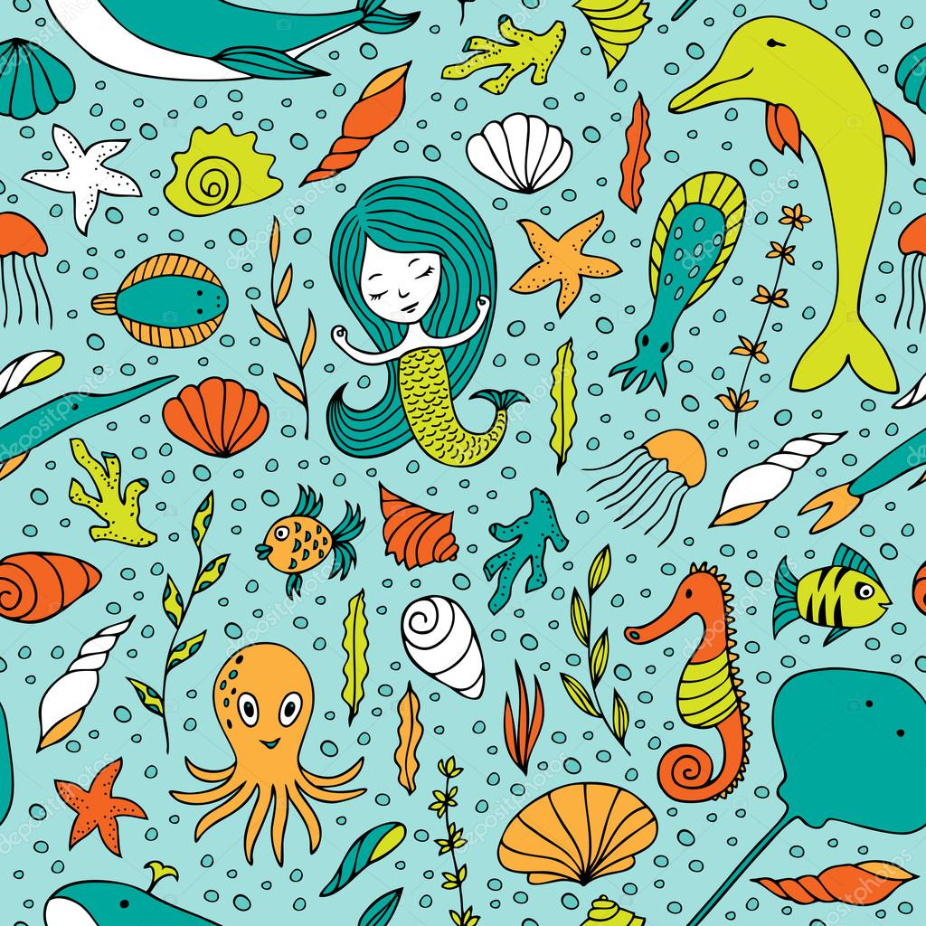 Seamless pattern marine life.