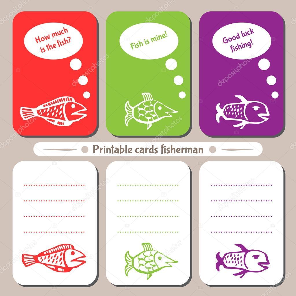 Pescador de tarjetas para imprimir — Vector de stock © EvgeniaVV ...