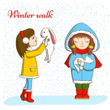 Winter walk. Children and animals.
