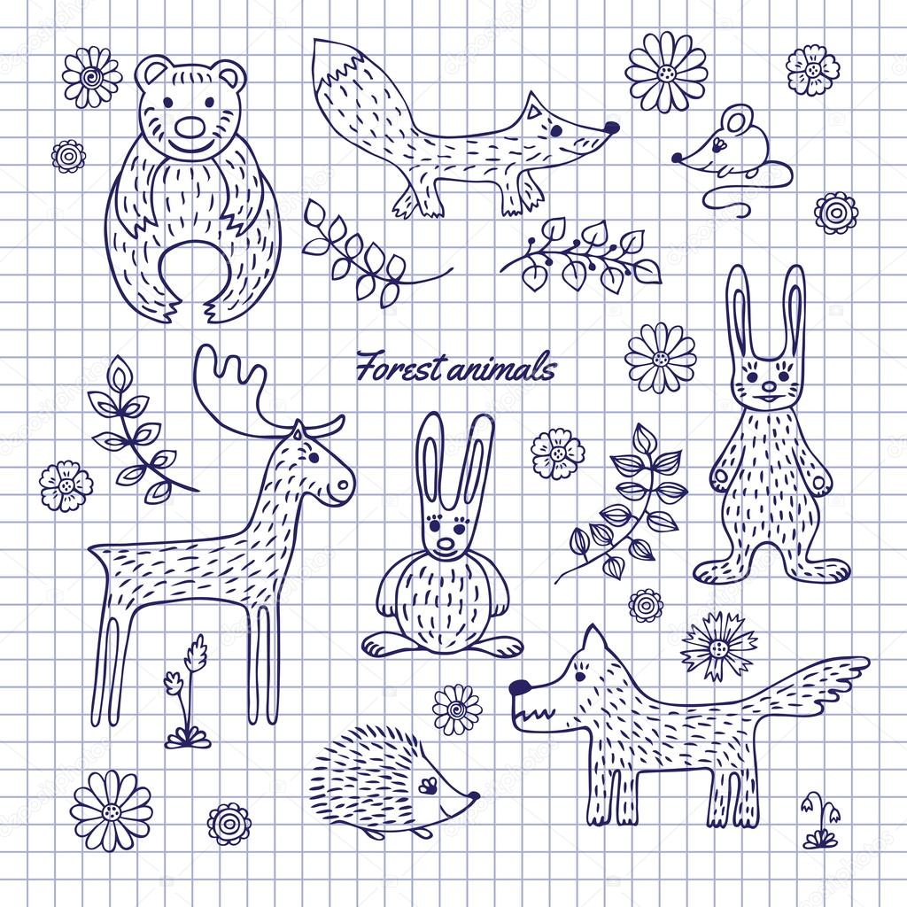 Hand-draw woodland animals