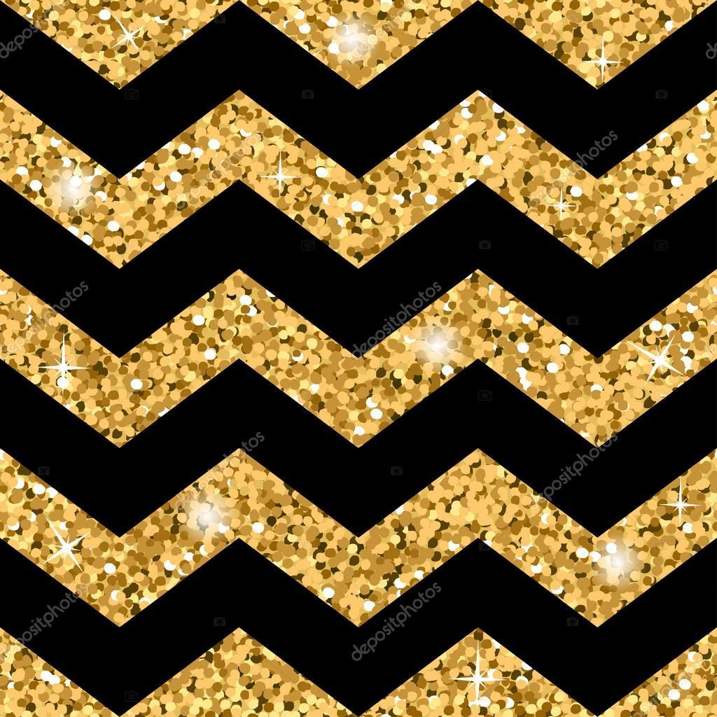 zigzag seamless pattern gold glitter and black template stock