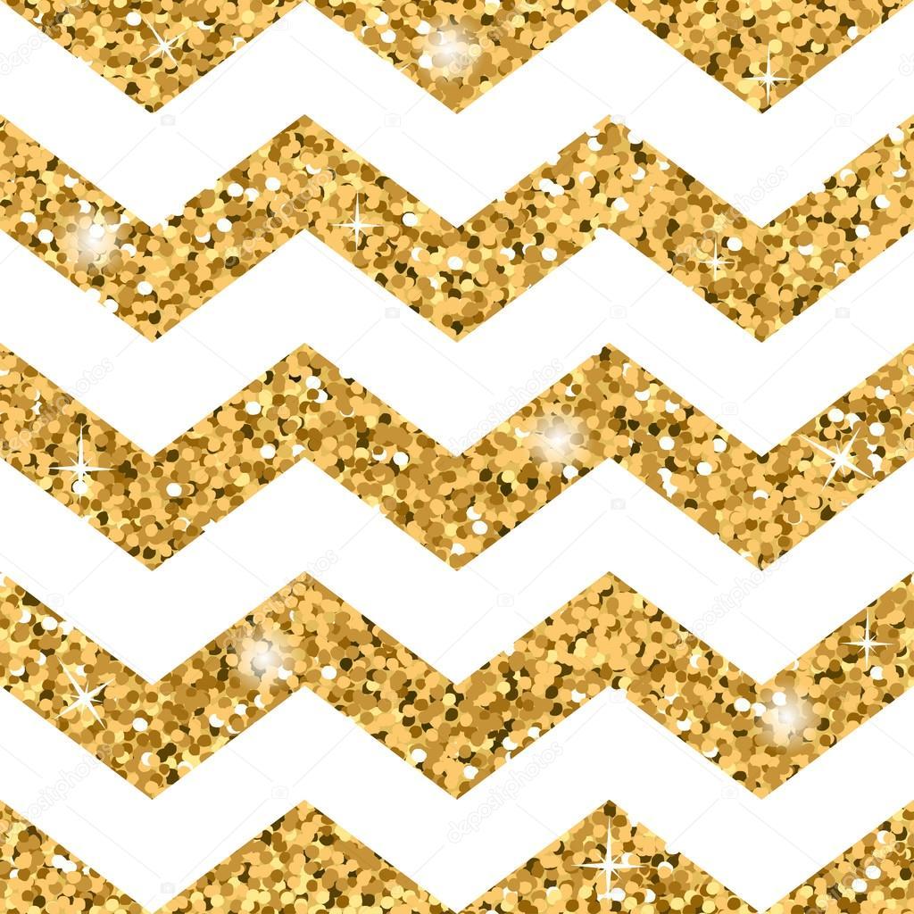 Zick-Zack-nahtlose Muster Gold-Glitter und weiß-Vorlage ...