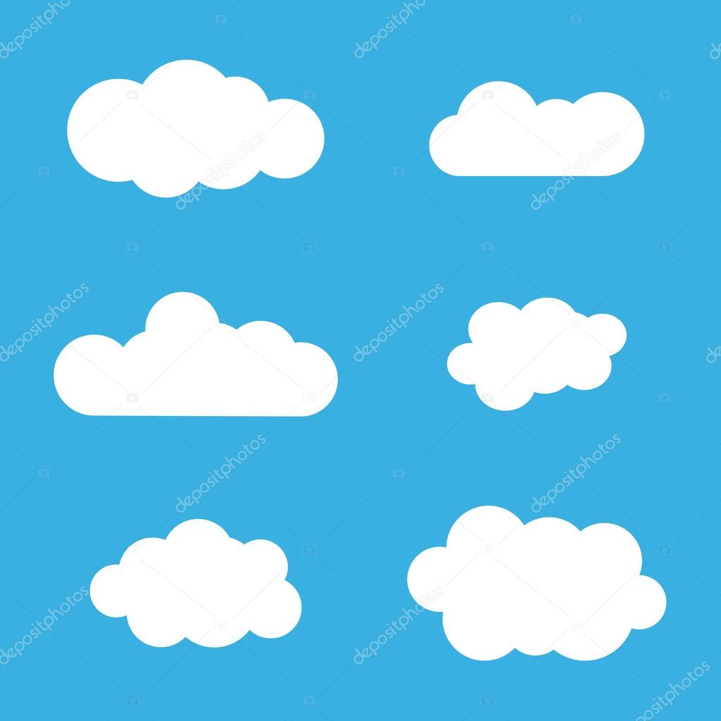 Cloud Icons Set White Outline Isolated On Blue Stock Vector
