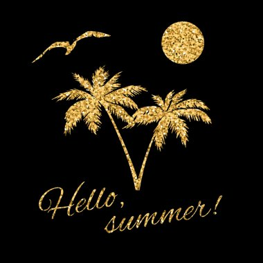 Hello summer Typography Graphic palm