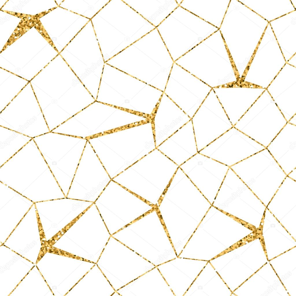 Mosaic Geometric Seamless Pattern 3d Gold White 1 Stock Vector
