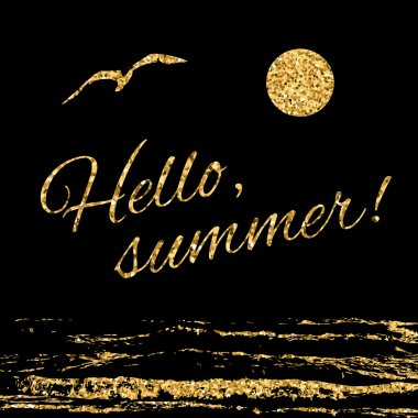 Hello summer Typography background waves