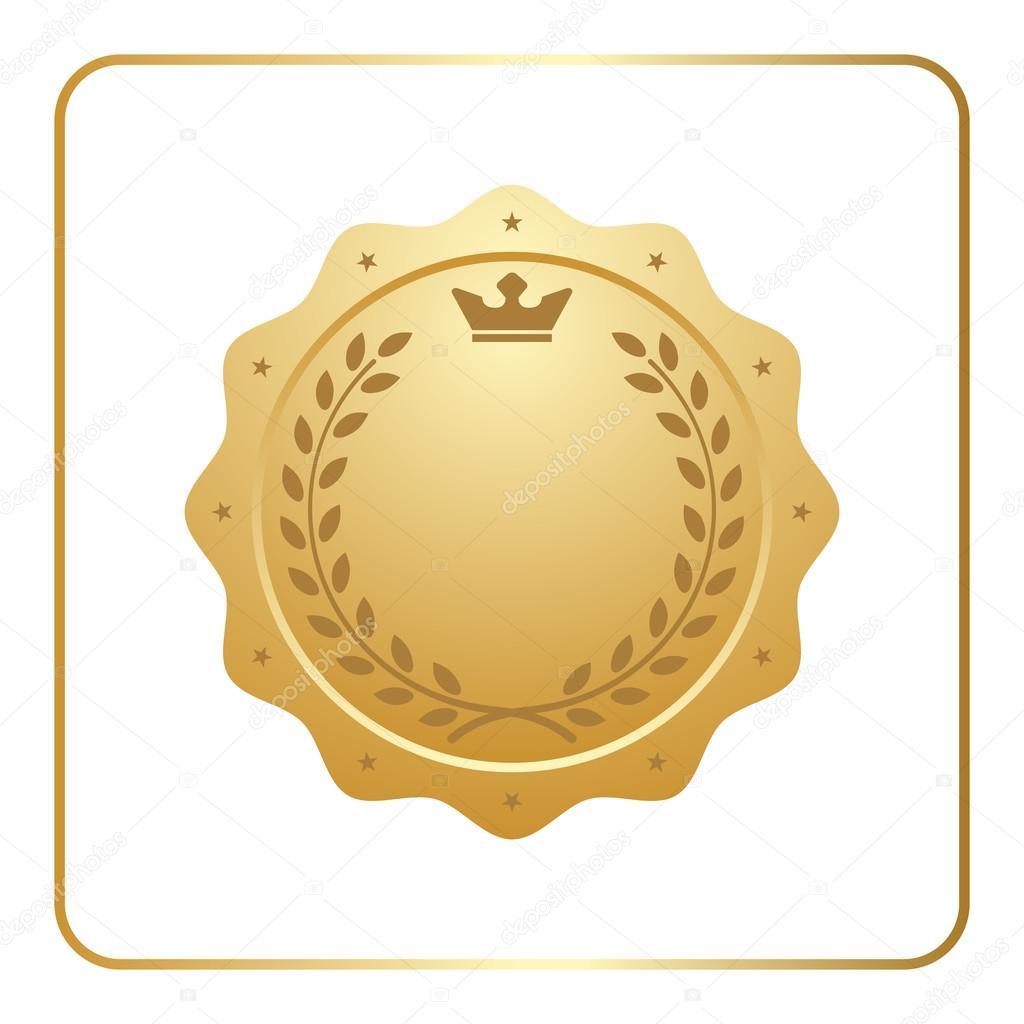Sigillo Oro Icona Vuota Medaglia Premio U2014 Vettoriale Stock