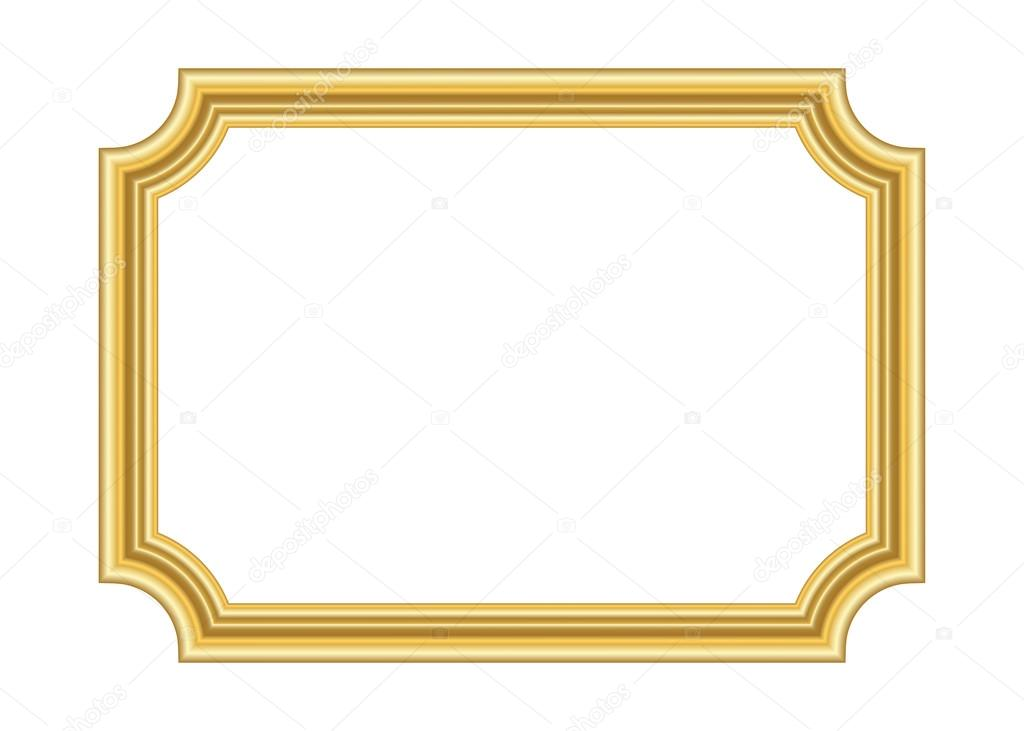 Gold frame. Beautiful simple golden white design — Stock Vector ...