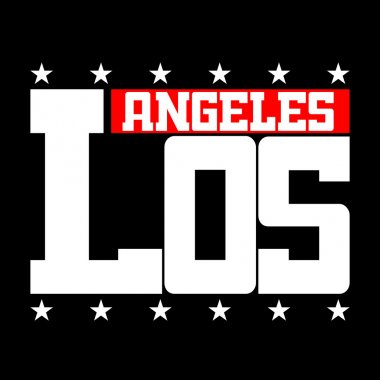 T shirt typography Los Angeles CA stars