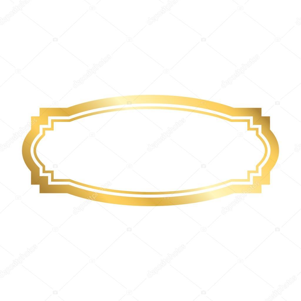 Gold Frame Beautiful Simple Golden Design Vintage Style Decorative Border Isolated On White Background Deco Elegant Art Object