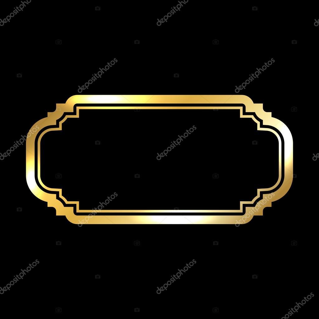 6cb542c920 Szép egyszerű arany design. Vintage stílusú dekoratív szegéllyel,  elszigetelt fekete háttér. Deco elegáns műtárgy. Üres másolat helyet banner,  dekoráció, ...
