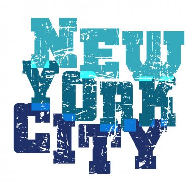 T shirt typography New York blue