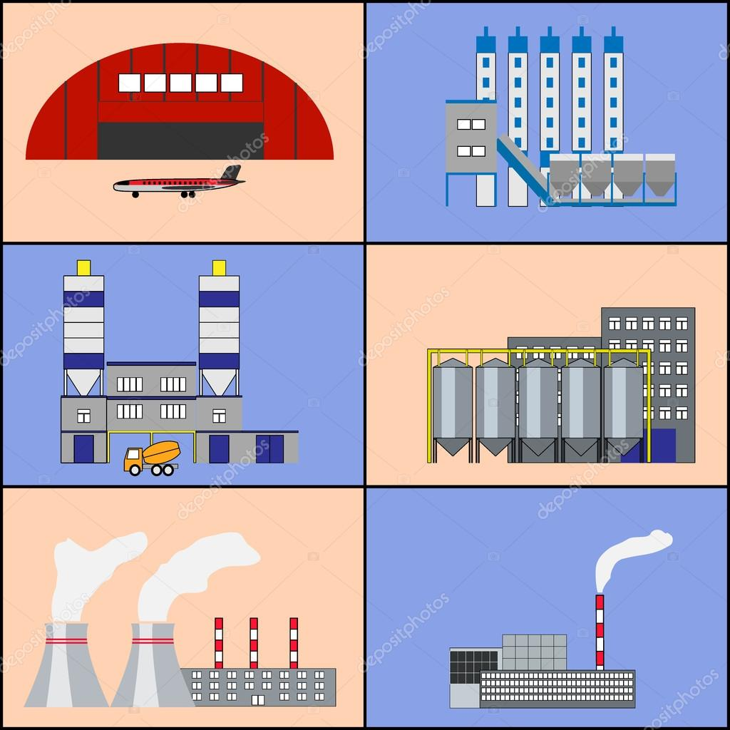 Factory buildings and power plants icons. Flat design.