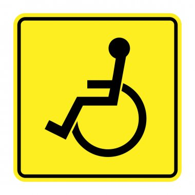 disabled yellow sign