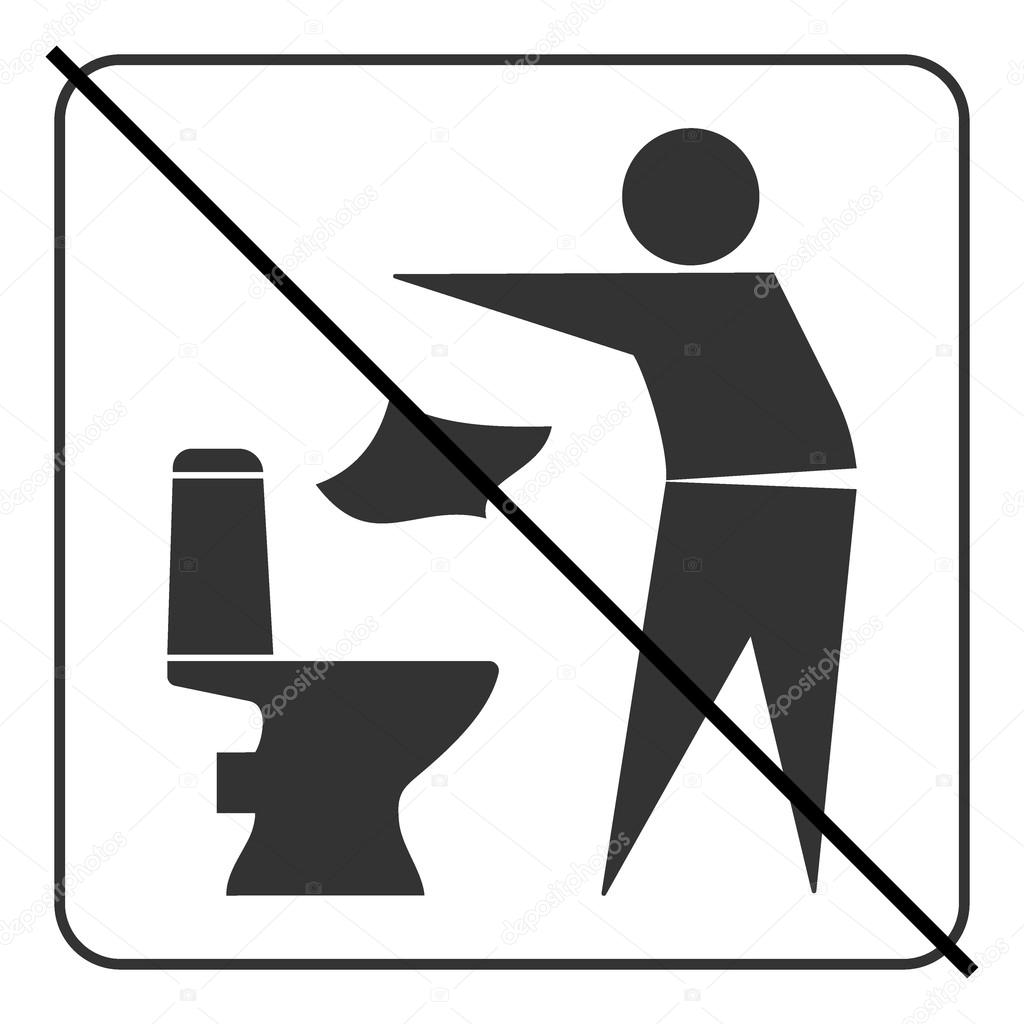 Do Not Throw Garbage In The Toilet Sign Black And White Vector