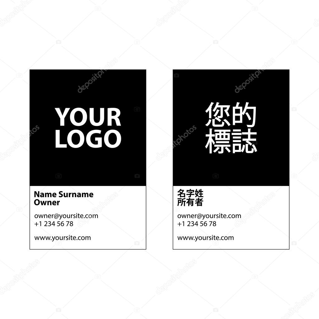 Two sided vector corporate business card template on two languages two sided vector corporate business card template on two languages modern and minimalistic reheart Gallery