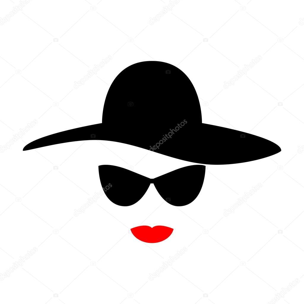 Viso Di Donna Stilizzato Da Elementi Di Design Cappello Occhiali