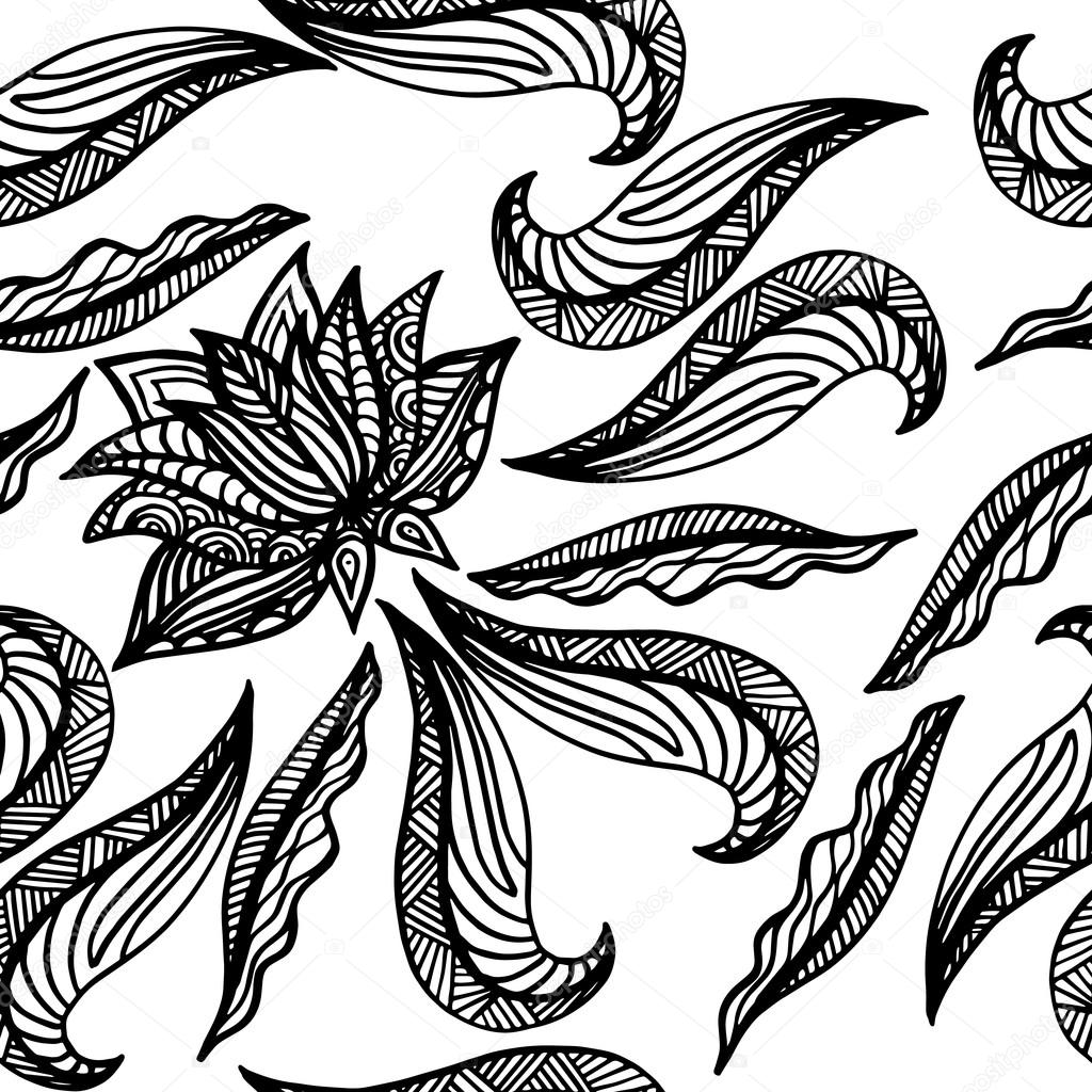 Black white seamless pattern with lotus. Boho Style Elements. Vector Drawing.