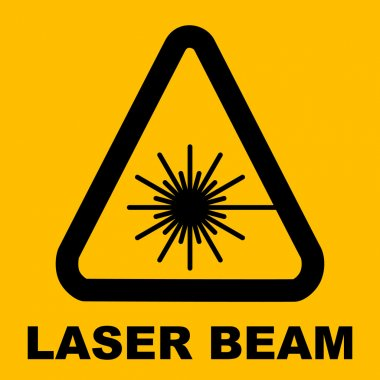 Warning icon of Laser light in yellow triangle.