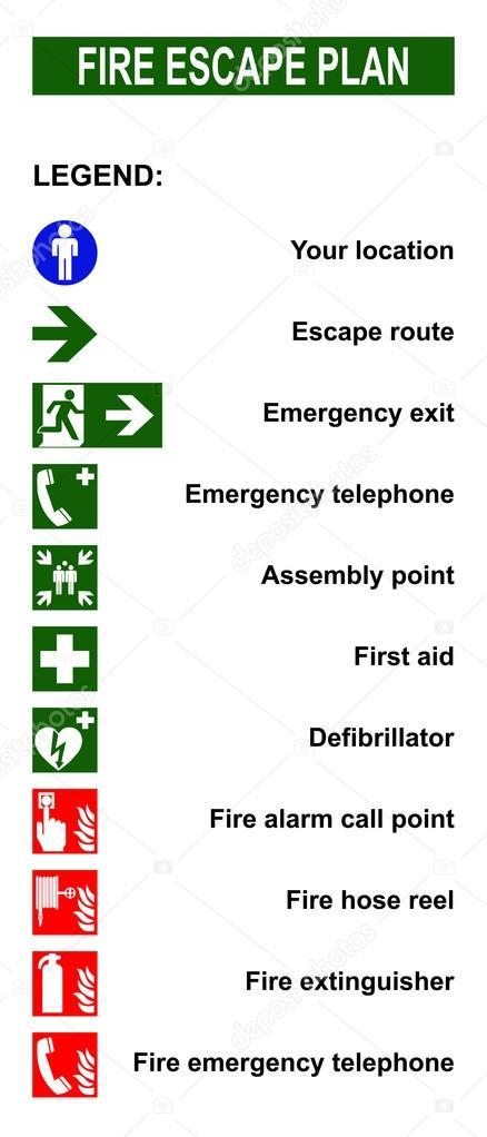 Set Di Simboli Per Piani Di Evacuazione Antincendio