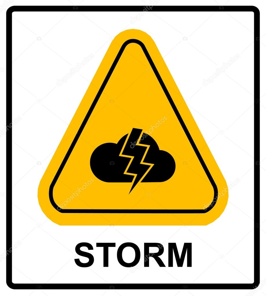 Storm hazard sign vector sign for outdoor stock vector storm hazard sign vector warning sticker label for outdoors yellow triangle isolated on white with text vector by merly69 buycottarizona Image collections