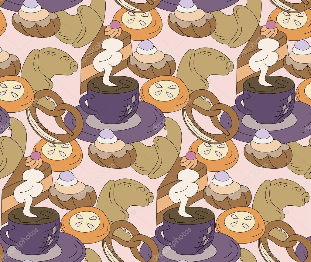 Seamless high tea cake and cats party vector pattern background