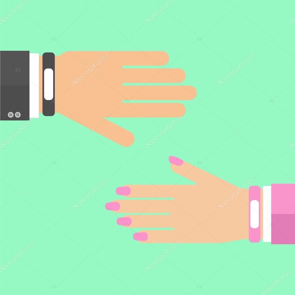 Elegantní náramek náramek. Muž ženě ruku. Vektorové ilustrace nositelná  technologie zařízení e0e041142fe