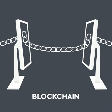 blockchain computer screen chain