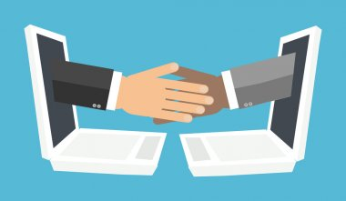 handshake from laptop screen