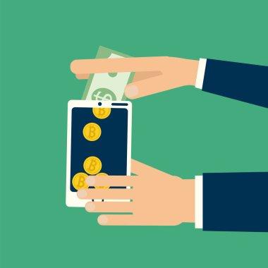 hand dollar to bitcoin