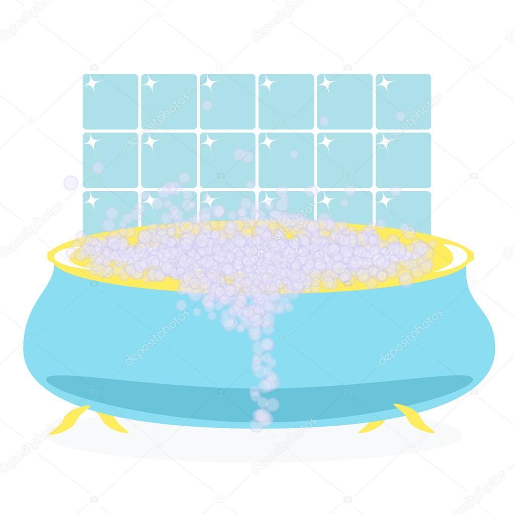 Empty bathtub with bubbles — Stock Vector © GreenVector #90709488