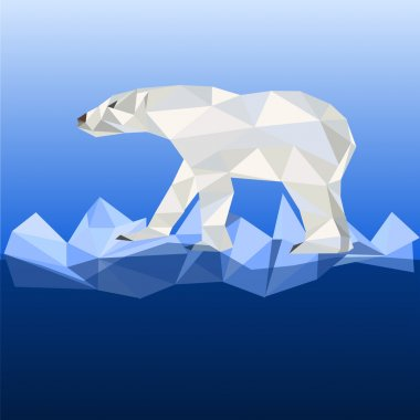 White bear in polygonal style